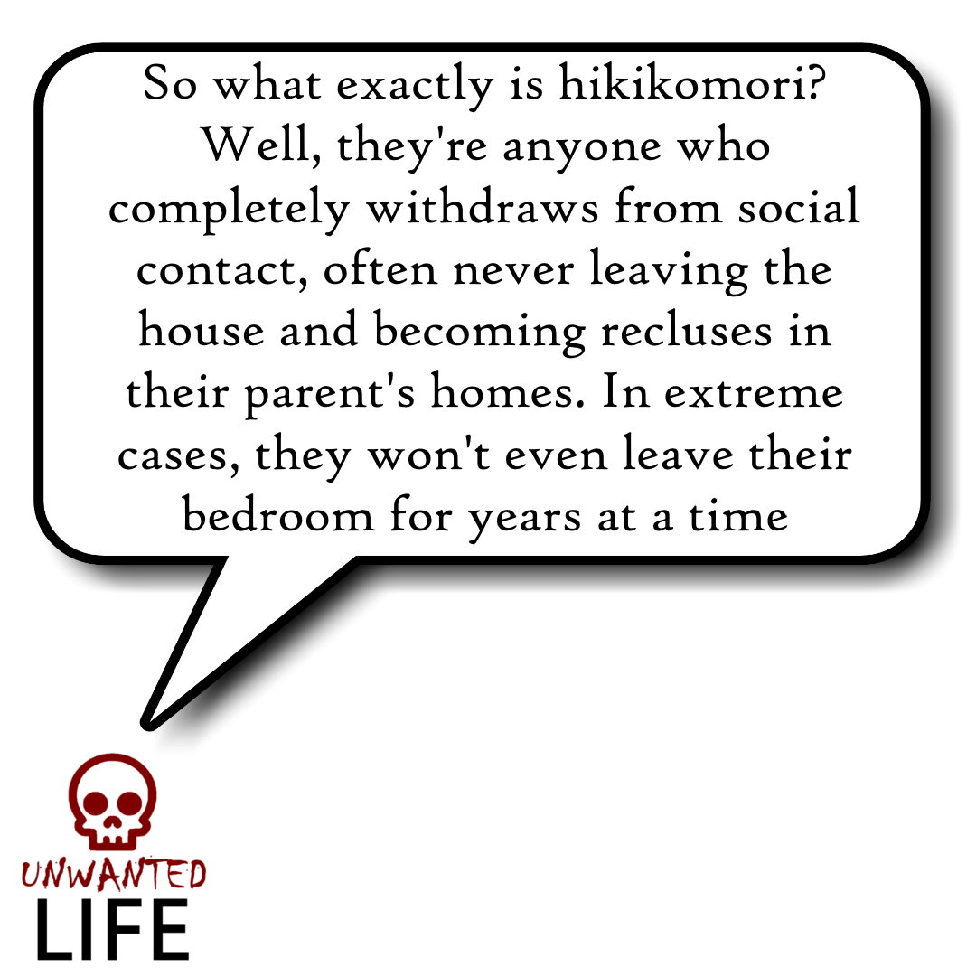 A quote from the blog Unwanted Life's article - Hikikomori: Social Anxiety Or Modern-Day Hermits? 3