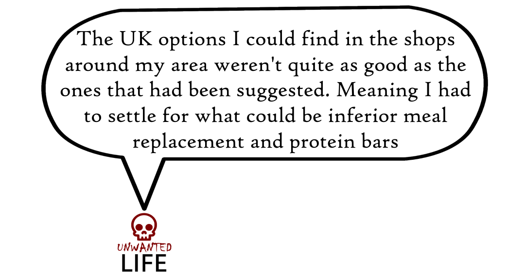 A quote from the blog Unwanted Life's article - Hypo Management: Meal Replacement And Protein Bars 4