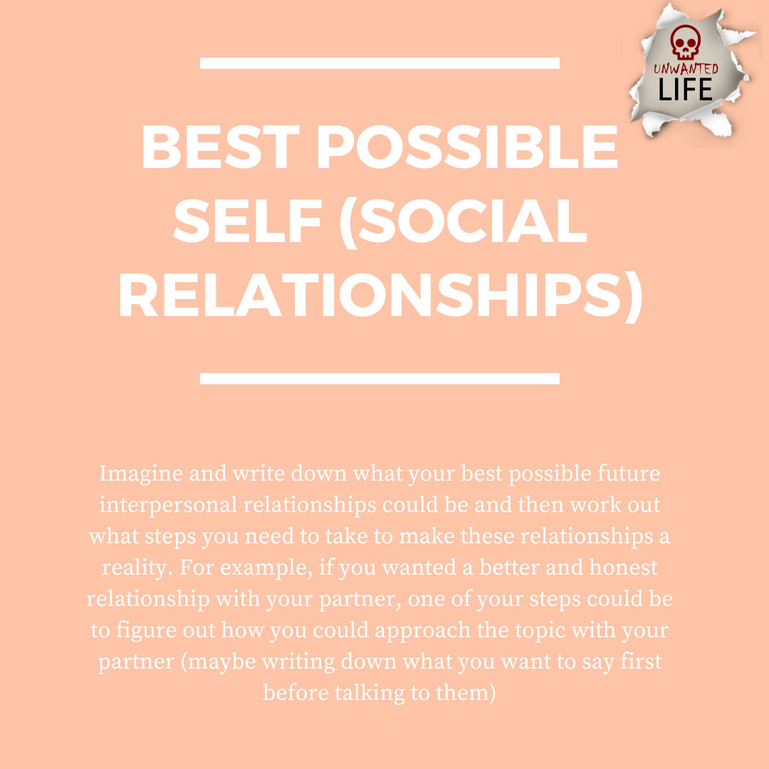 best possible self: social relationships | Positive Psychology Intervention | Unwanted Life | Mental Health and Wellness Blog