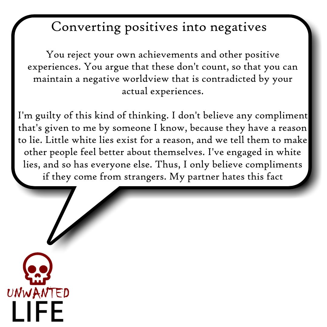 A quote from the blog Unwanted Life's article - What We Know About Thinking Errors 3