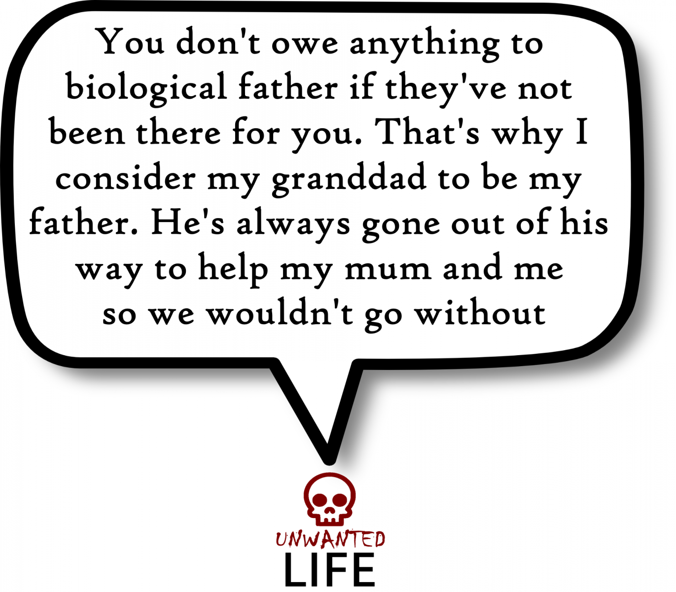 A quote from the blog Unwanted Life's article - What Makes A Father On Father's Day? 4