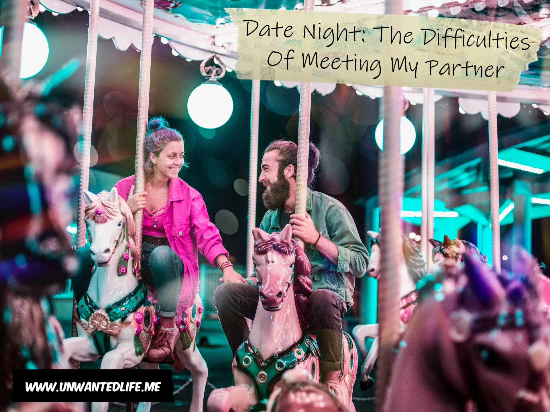 A couple riding a merry-go-round on a date with the title of the article above them - Date Night: The Difficulties Of Meeting My Partner