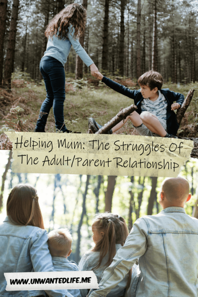 The image is split in two with the top half being a picture of a sister helping up her brother and the bottom half of a family sitting facing away from he camera. The two images are split by the title of the article - Helping Mum: The Struggles Of The Adult/Parent Relationship