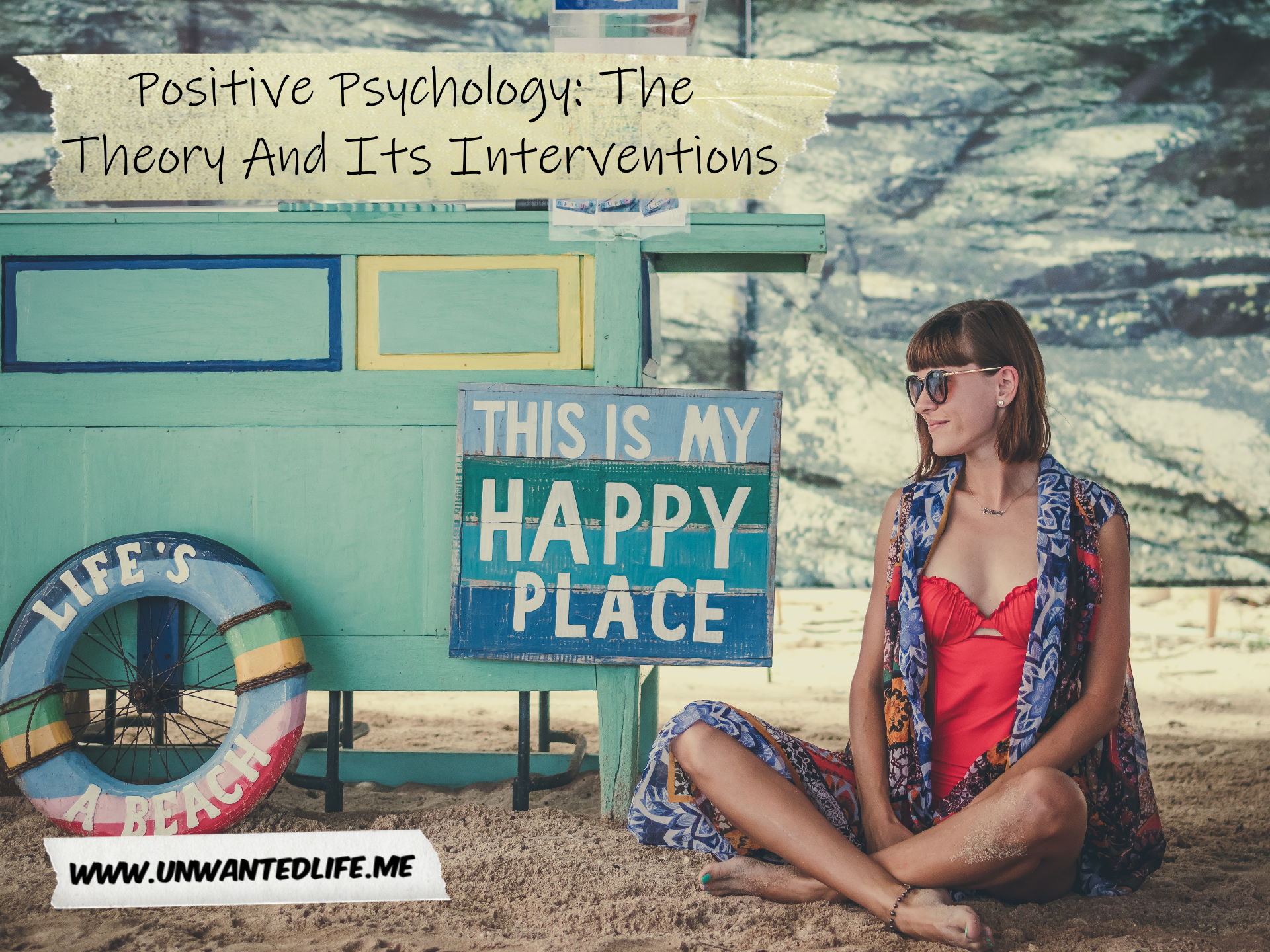 "A photo of a white woman sitting on the beach next to a sign that says ""This is my happy place"" to represent - Positive Psychology: The Theory And Its Interventions"