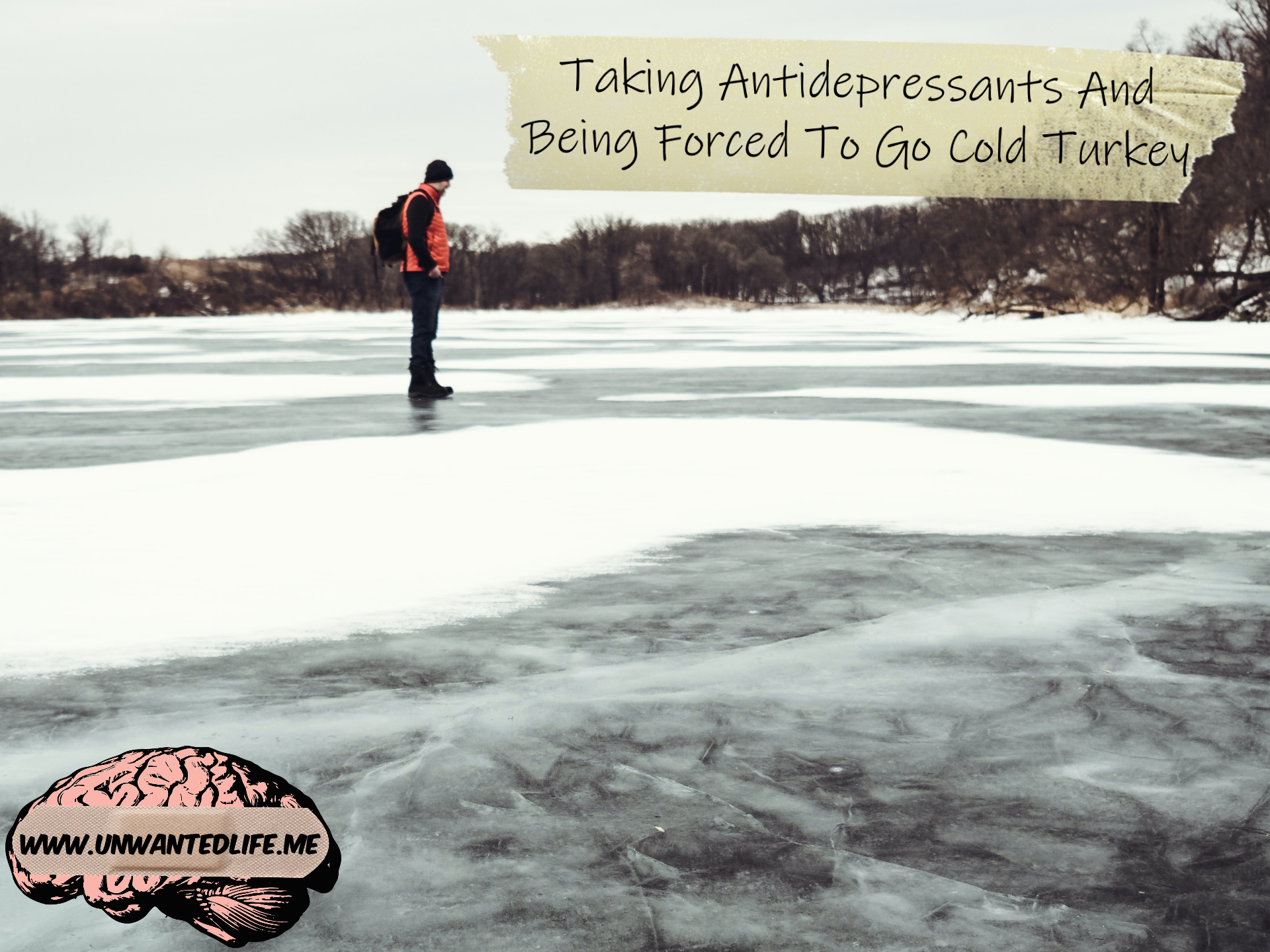 A guy in winter clothing standing on a frozen over body of water during winter with the title of the article - Taking Antidepressants And Being Forced To Go Cold Turkey - in the top right corner