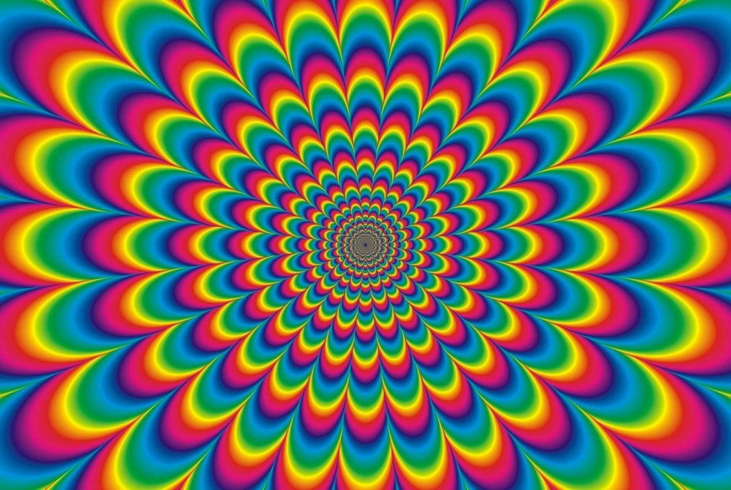 A psychedelic swirly multi-coloured picture to represent hallucinations and tripping