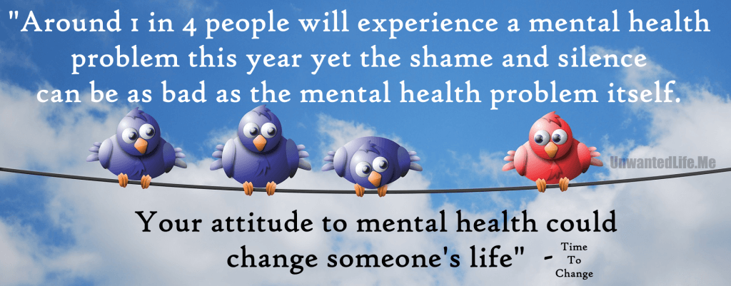 An image to represent a quote by Time To Change about how 1 in 4 people will experience mental illness