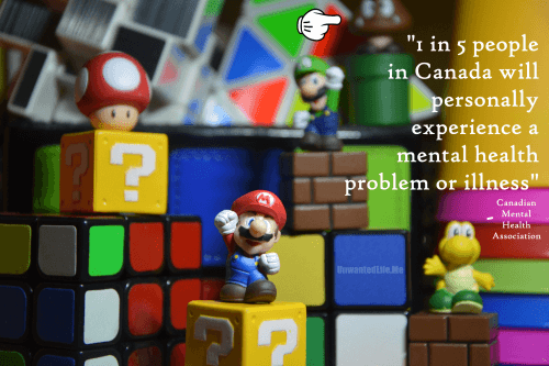 An image of Mario figures that represent the 1 in 5 Canadian statistic