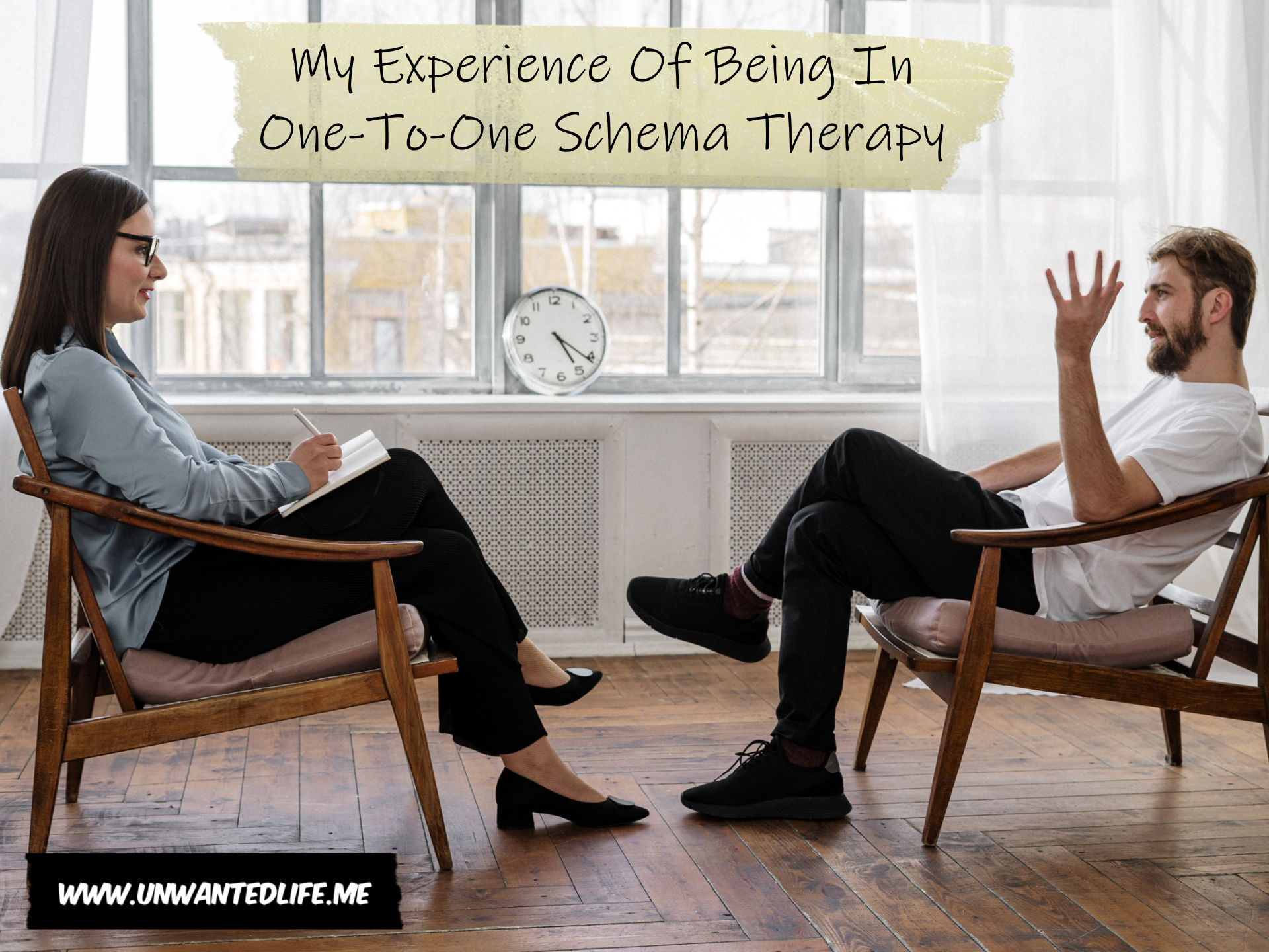 A photo of a man sitting in a chair talking to a therapist sitting in a chair and taking notes with the article title - My Experience Of Being In One-To-One Schema Therapy - above them