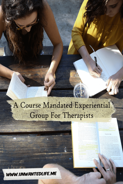 A photo of three white people sitting at a bench reading and writing outside to represent the topic of the article - A Course Mandated Experiential Group For Therapists