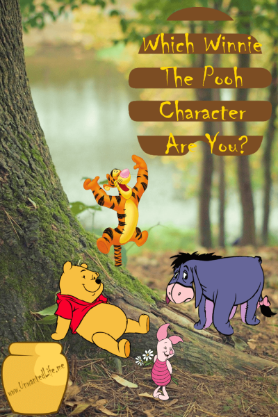 A picture of four Winnie the Pooh cartoon characters on a real forest background to represent the topic of the article - Which Winnie The Pooh Character Are You?