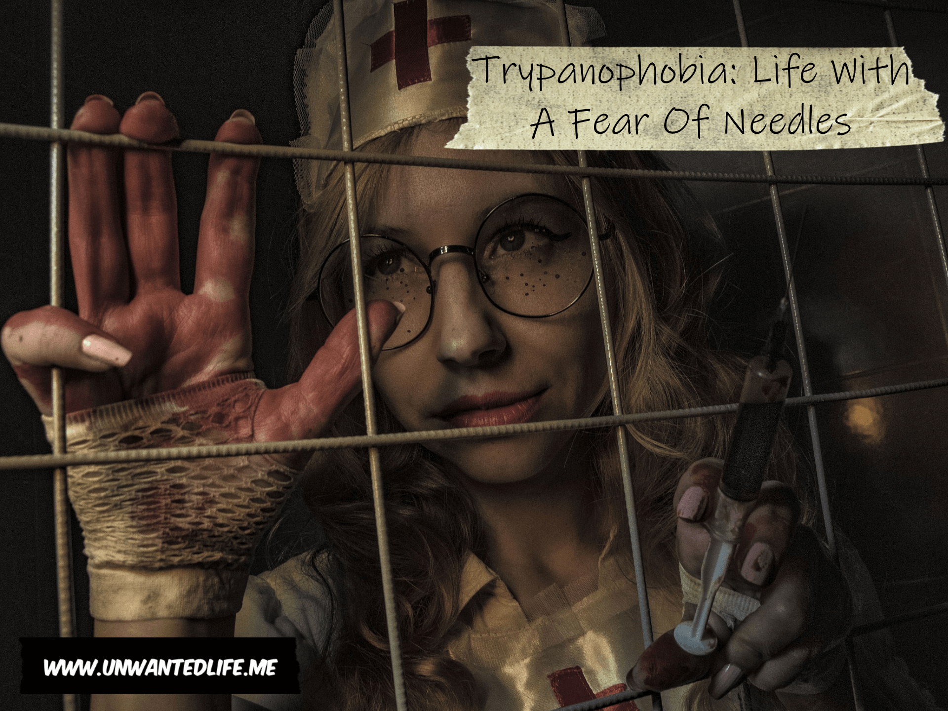 A picture of a bloody nurse with a syringe behind a metal fence with the article title - Trypanophobia: Life With A Fear Of Needles - in the top right corner of the image