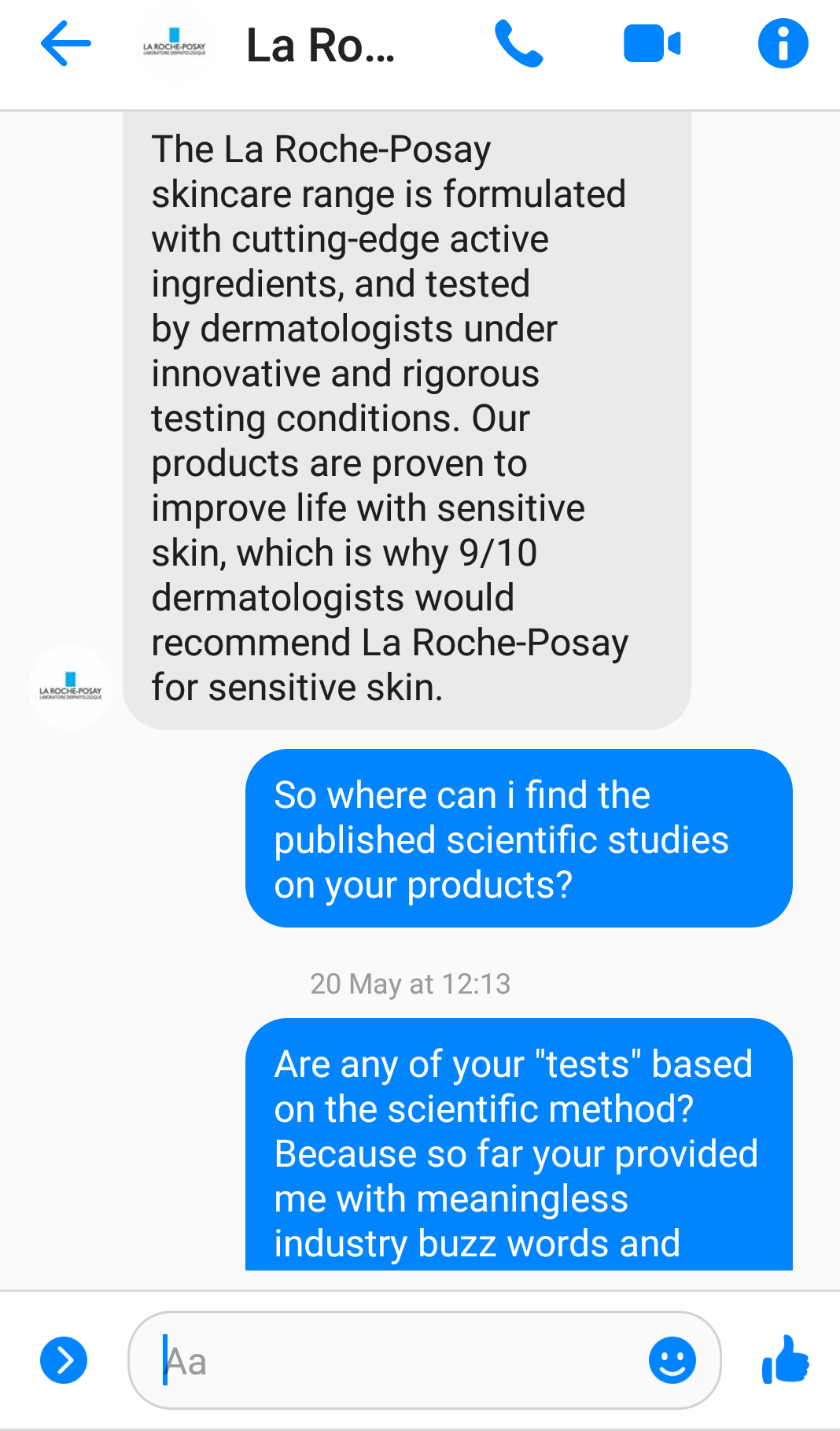 A screenshot of my social media conversation with La Roche-Posay to represent the topic of the article - A Moisturiser Review: Complex Skin And Mental Health