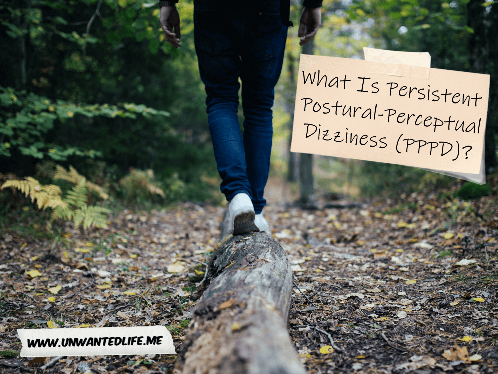 A photo of a white man waking across a fallen three trunk to represent balance with the title of the article - What Is Persistent Postural-Perceptual Dizziness (PPPD)? - in the right corner of the image