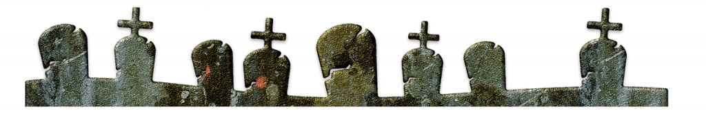 A banner using a series of grave stones to represent the topic of the article - Mental Health And Halloween