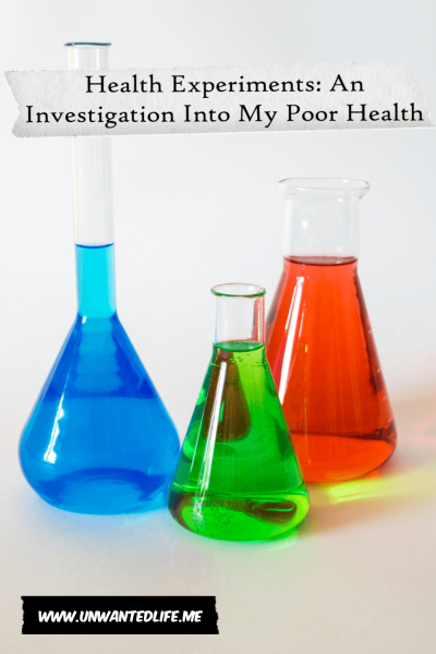 A photo of three glass Erlenmeyer flask's with different coloured liquids in them with the title of the article - Health Experiments: An Investigation Into My Poor Health - across the top of the image