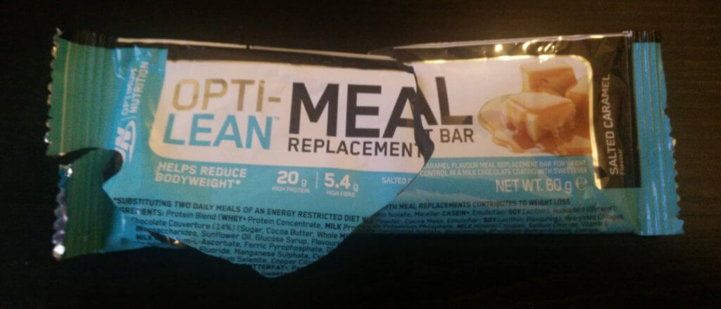 A photo of a Opti-Lean bar to represent the topic of the article - Hypos, Meal Replacement, And Protein Bars