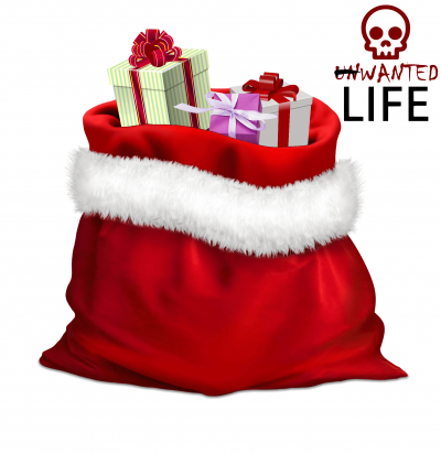 An image of Santa's suck full of presents with Unwanted Life's Wanted Life logo to represent the topic of the article - Christmas: How To Manage The Festive Holidays