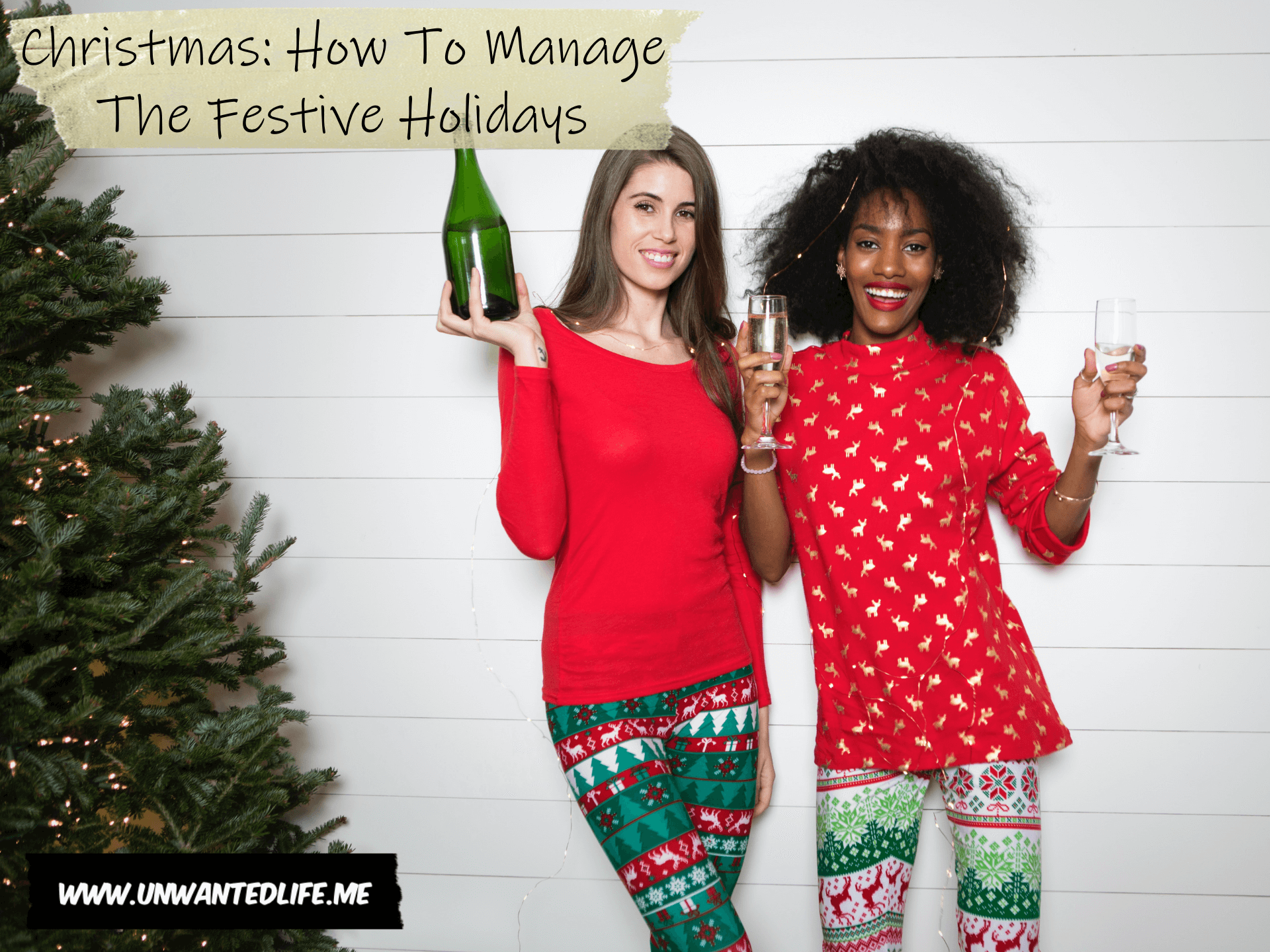 A photo of a black woman and a white woman drinking and celebrating Christmas to represent - Christmas: How To Manage The Festive Holidays