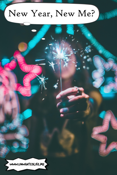 A light blurred woman holding a sparkler in front of the camera with a thought bubble over her head which says - New Year, New Me?