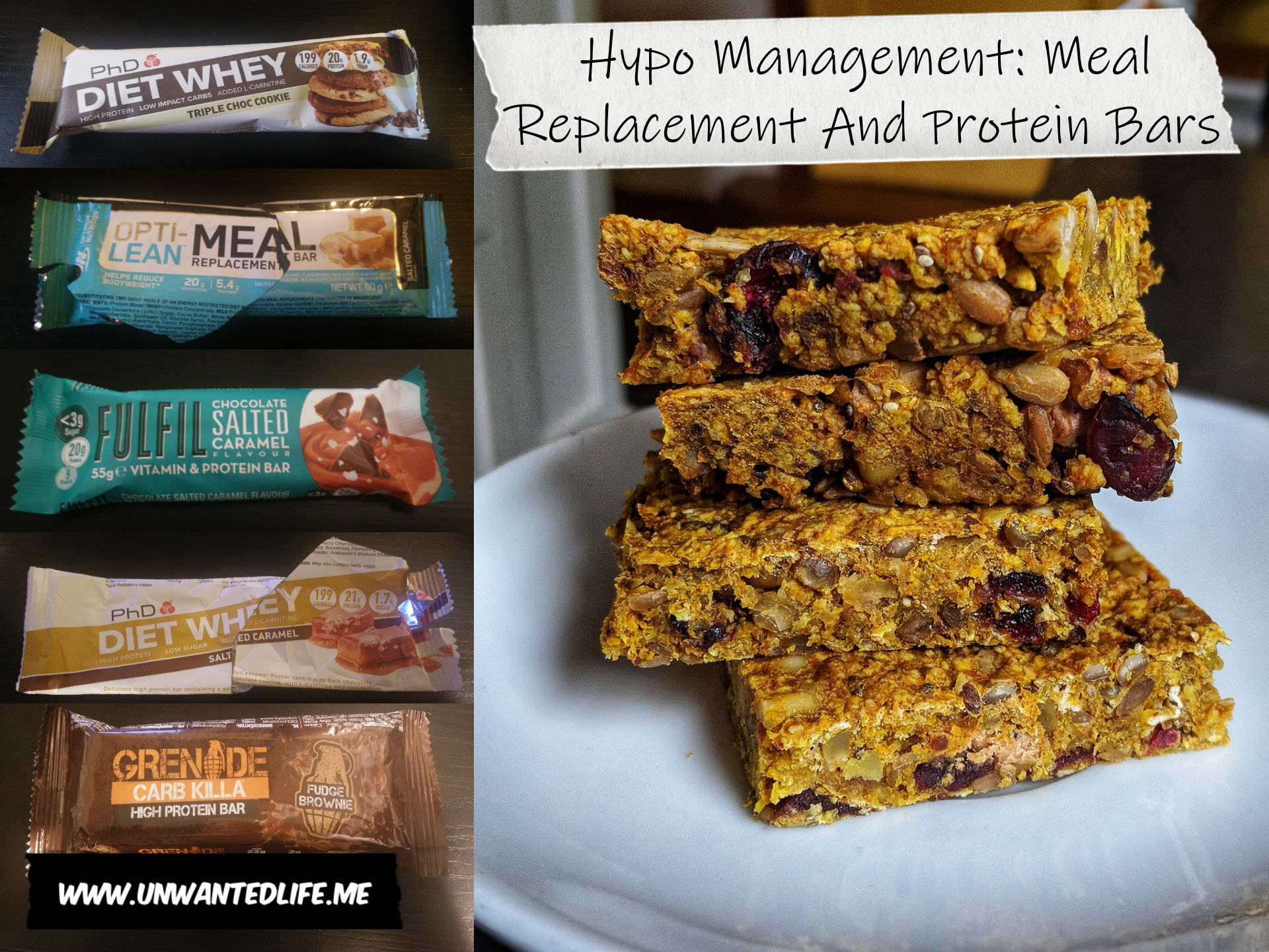 The image is split into two main half's, the first half is of photo's of five different meal replacement and protein bars. The second half is of a pile of homemade nut and fruit bars with both halves representing - Hypo Management: Meal Replacement And Protein Bars