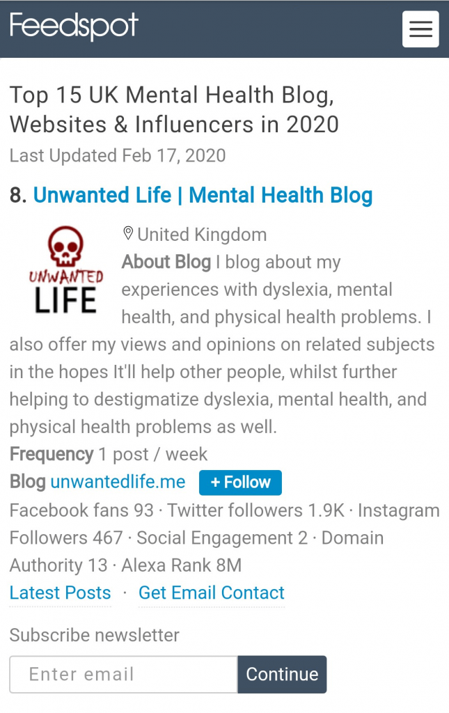 UK's Top 15 Mental Health Blogger