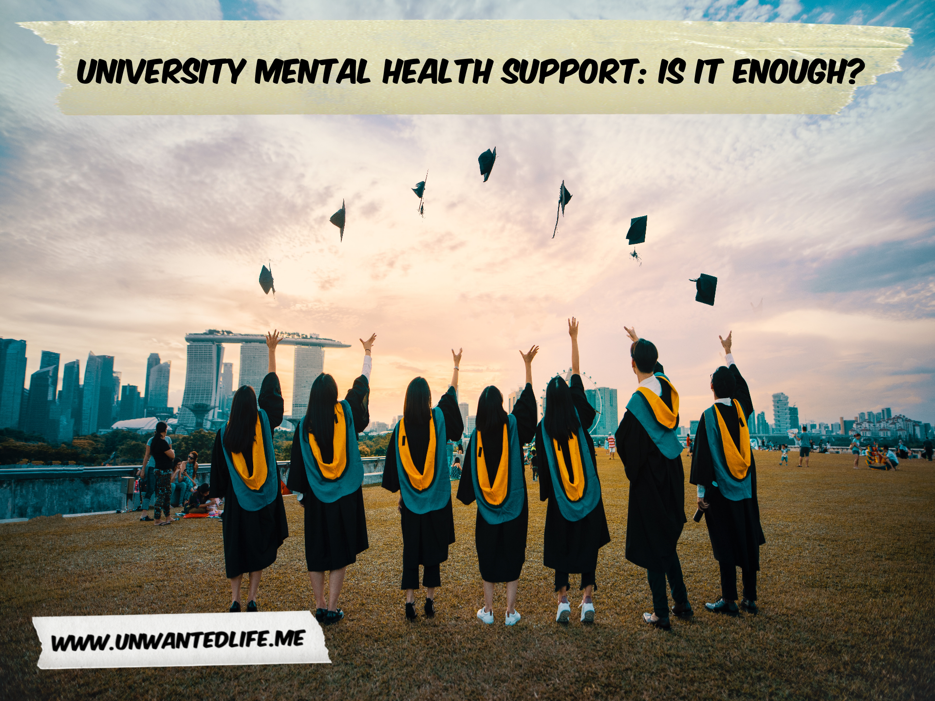 A photo of graduating Asian university students throwing their mortarboards in the air to represent - University Mental Health Support: Is it Enough?