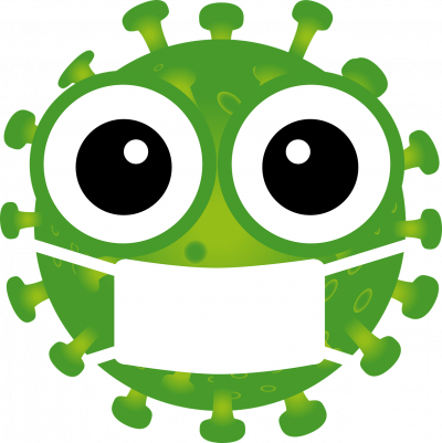 A covid19 cartoon virus wearing a face mask to represent the topic of the article - Coronavirus, Self-Isolation, And The Selfishness Of Others