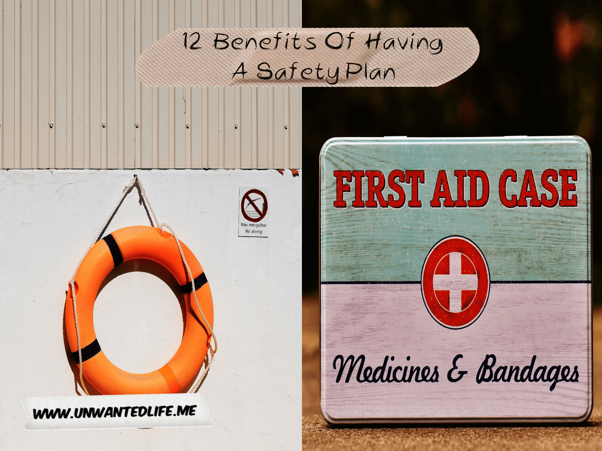 A picture split in two down the middle with the left image of a lifebuoy and the right image of a metal first aid kit to represent the topic of the article - 12 Benefits Of Having A Safety Plan