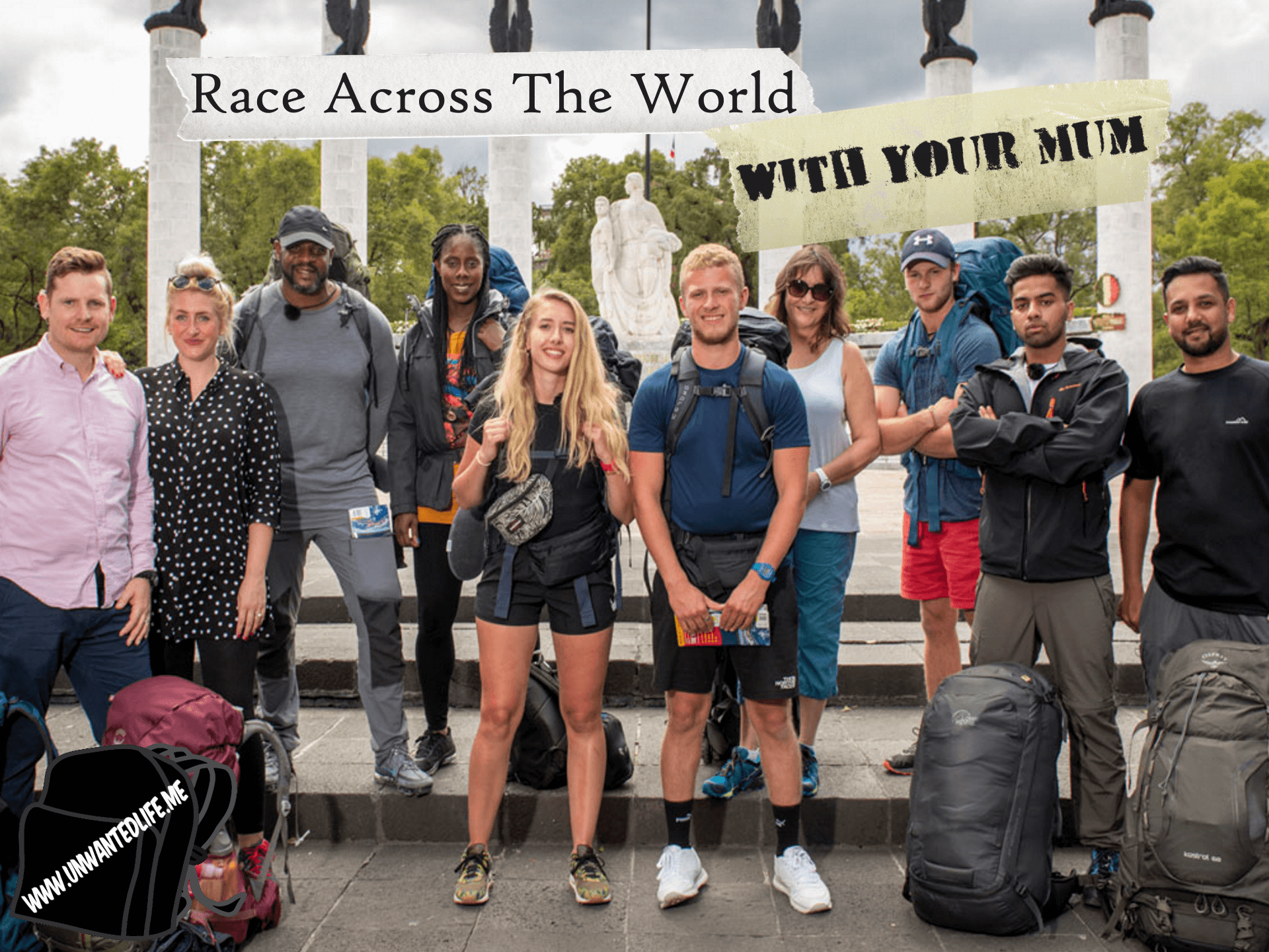 A photo of the contestants for the reality TV show Race Across The World to represent - Race Across The World, With Your Mum