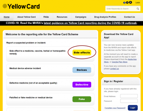 A screenshot of the Yellow Card website with the site effects button circled so you know which button to press to report a medication interaction or side effects to represent the topic of the article - Medication Interactions Reporting Medication