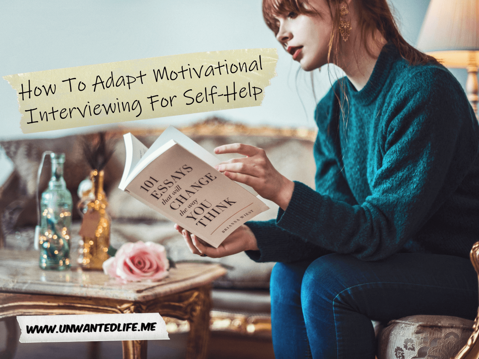 A white woman sitting down in her living room reading a self-help book to represent the topic of the article - How To Adapt Motivational Interviewing For Self-Help