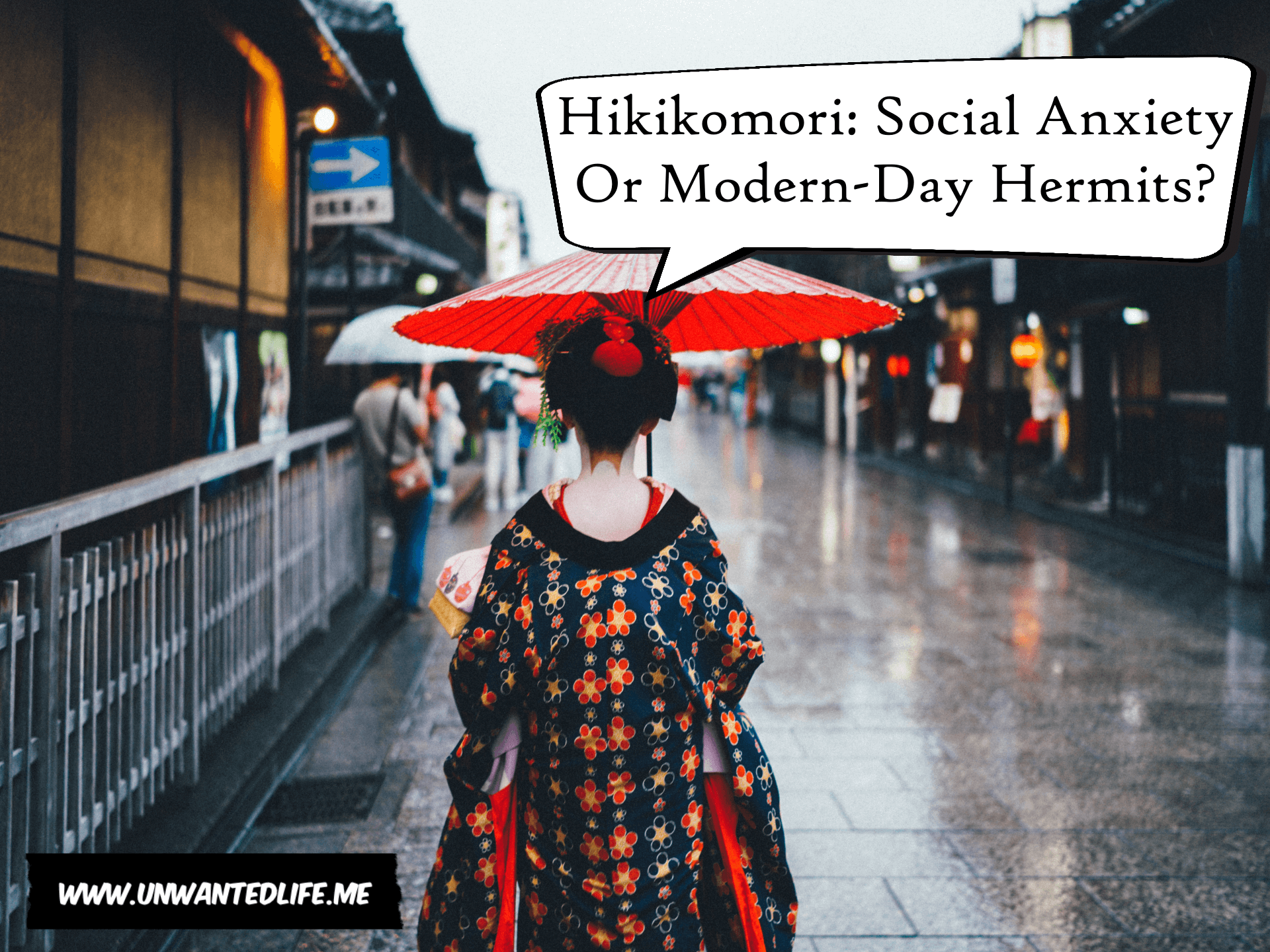 A photo of a Geisha Girl walking in the rain under a Oil-paper umbrella to represent the topic of the article - Hikikomori Social Anxiety Or Modern-Day Hermits