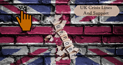 """picture of the United Kingdom made out of scrabble pieces that spell out """"support"""" on the backdrop of a graffitied Union Jack on a wall hand a hand indicating to tap it to be taken to the page - UK Crisis Lines and Support Services"""