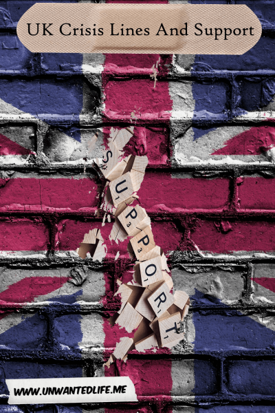 "A picture of the United Kingdom made out of scrabble pieces that spell out ""support"" on the backdrop of a graffitied Union Jack on a wall to represent the page - UK Crisis Lines and Support Services"