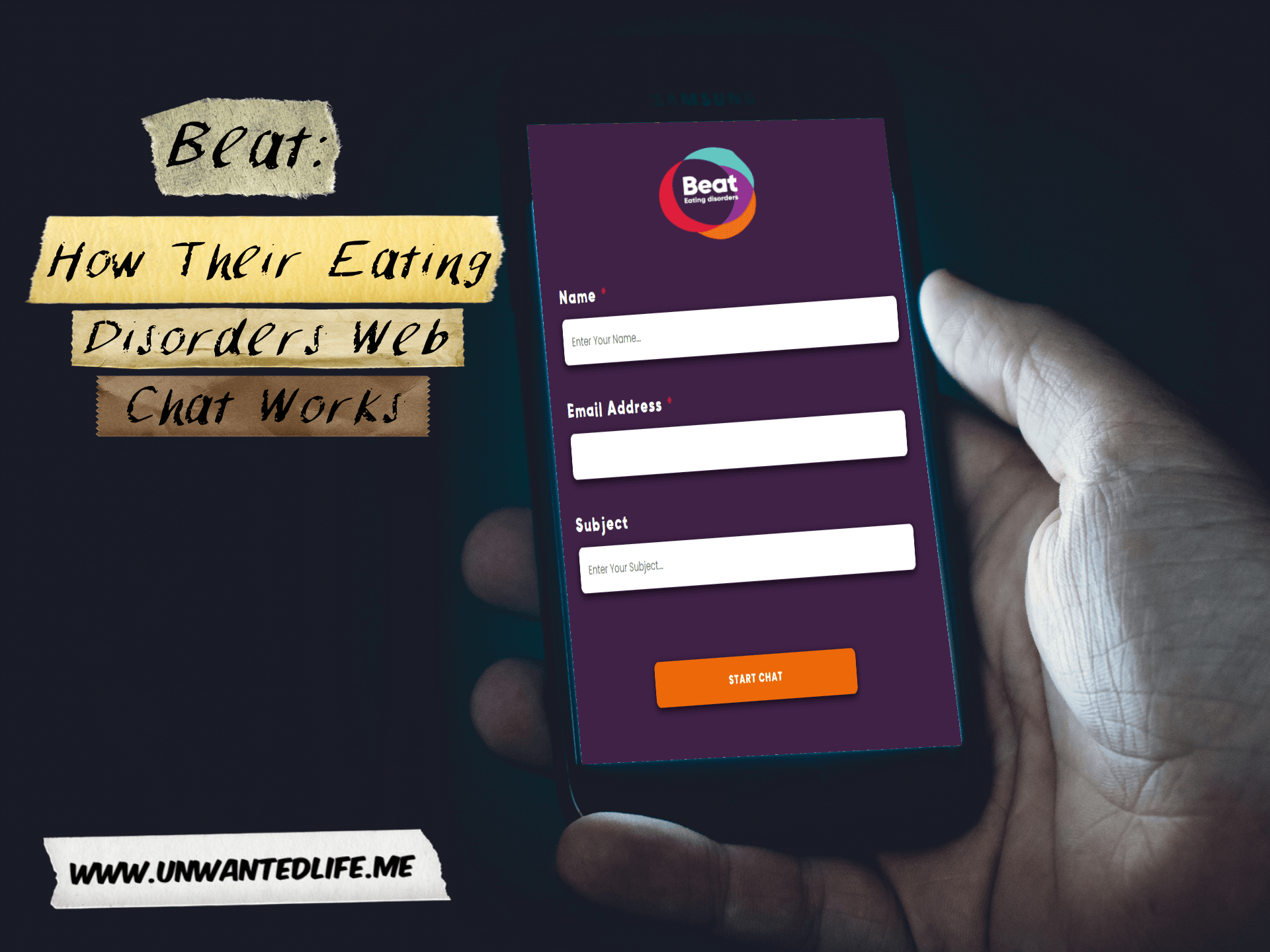 A picture of a white man using his smartphone to access Beat Eating Disorders webchat service represent the topic of the article - Beat: How Their Eating Disorders Web Chat Works