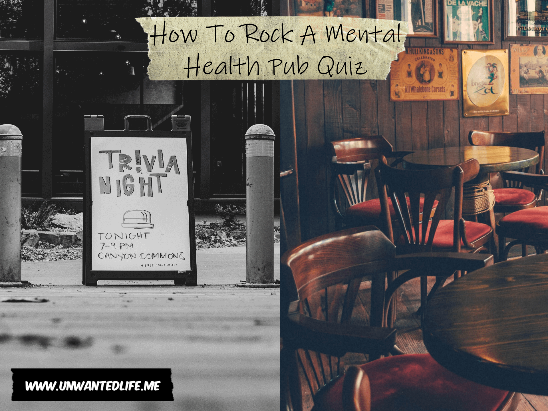 The image is split in two down the middle with the left image of trivia night sign and the right image is a photo of the inside of a pub to represent - How To Rock A Mental Health Pub Quiz