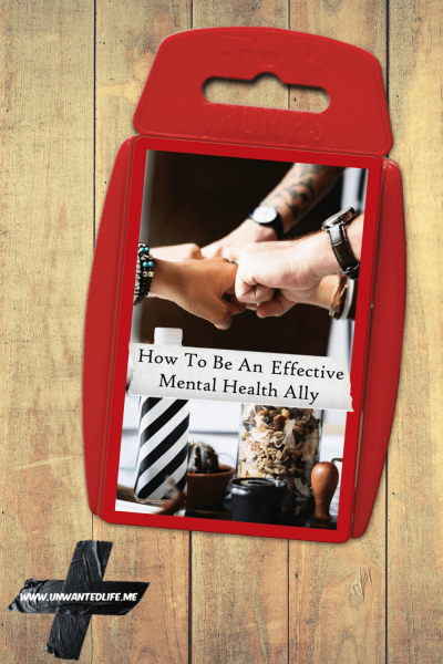 A top trumps pack altered to show an image of people putting their hands together to represent - How To Be An Effective Mental Health Ally