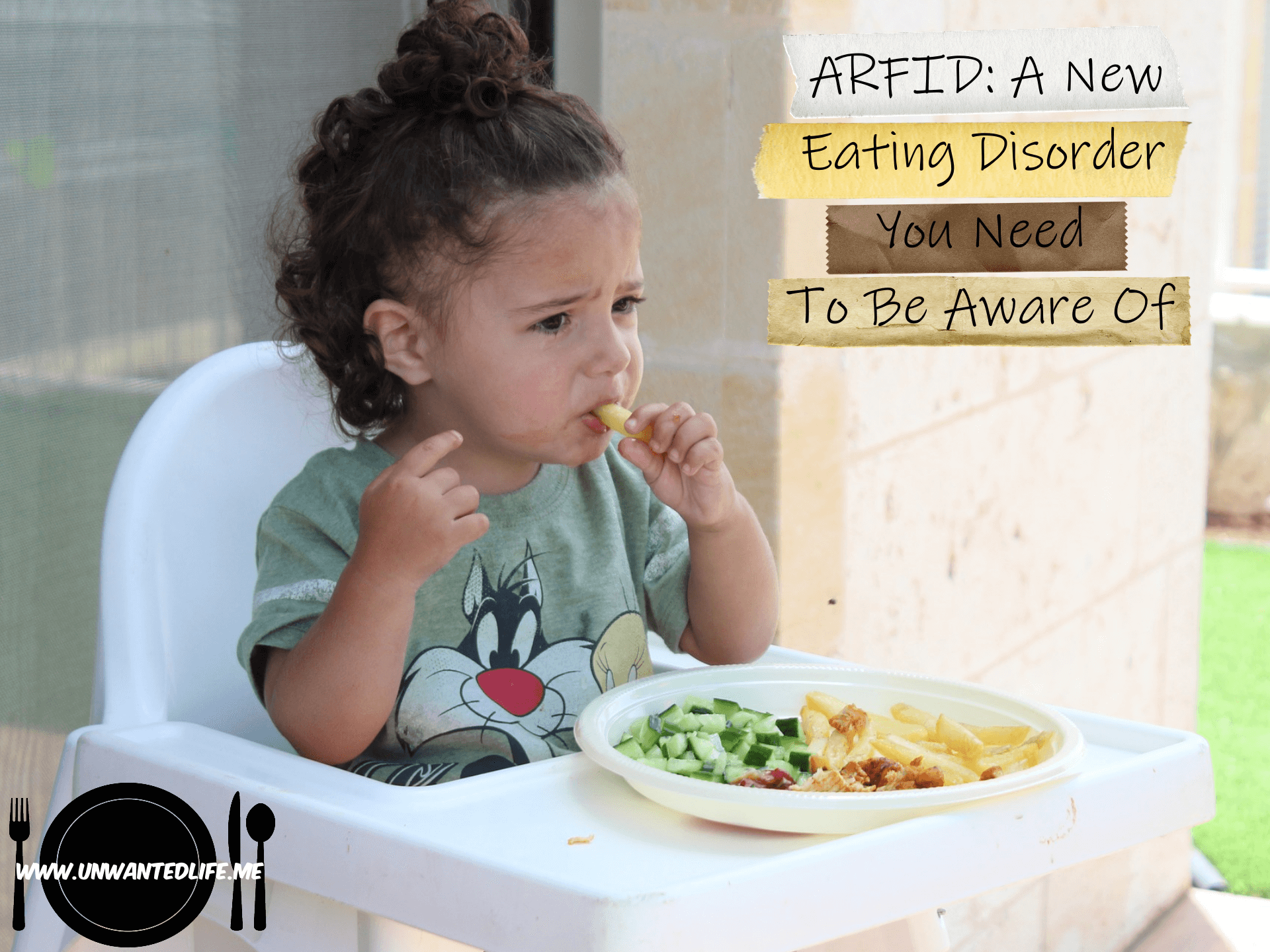 A photo of a baby in a Disney T-shirt sitting in a highchair eating pasta and cucumber with the article title - ARFID: A New Eating Disorder You Need To Be Aware Of - in the top right corner