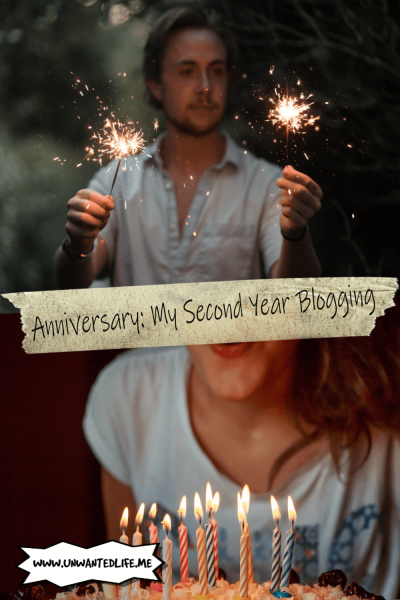 An image split into two represent having an Anniversary. The top image is of a man hold two sparklers and the bottom image is of a woman blowing out candles. The two images are separated by the article title - Anniversary: My Second Year Blogging