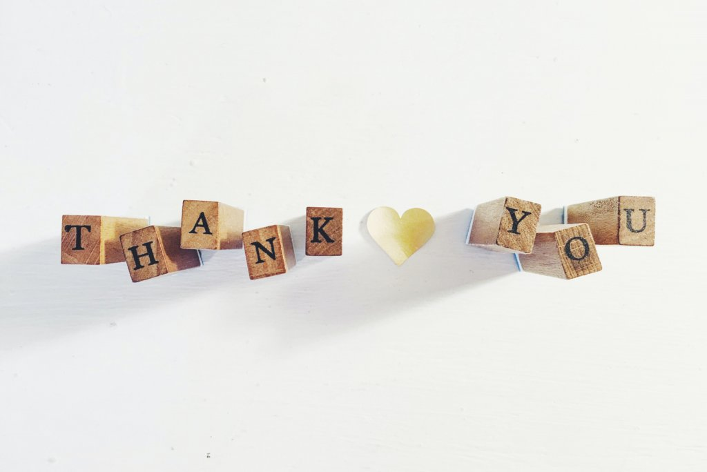 """Wooden blocks spell out the wood """"thank you"""" on a white background"""