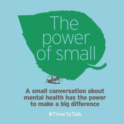 A graphic created by Time To Change for The Power Of Small Time To Talk Day