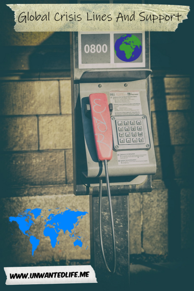 A photo of a payphone with a picture of a globe and a map of the world to represent the topic of the page - Global Crisis and Support Information Found on Unwanted Life