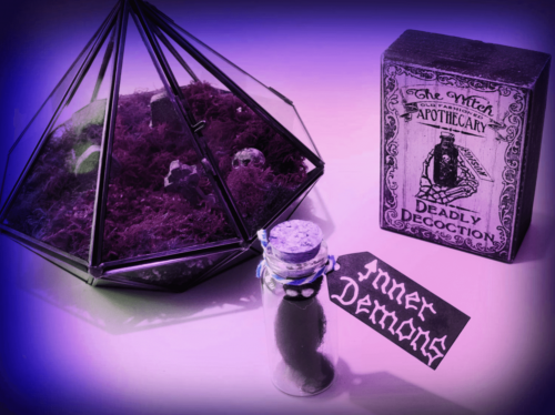 A photo of a literally representation of your Inner Demons in a small glass bottle, along side a graveyard terrarium and a wooden sign that depicts a deadly apothecary