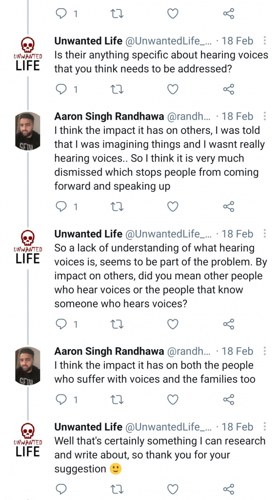 A screenshot of my twitter conversation about the topic of this article - Hearing Voices: Invasion Of A Foreign Voice