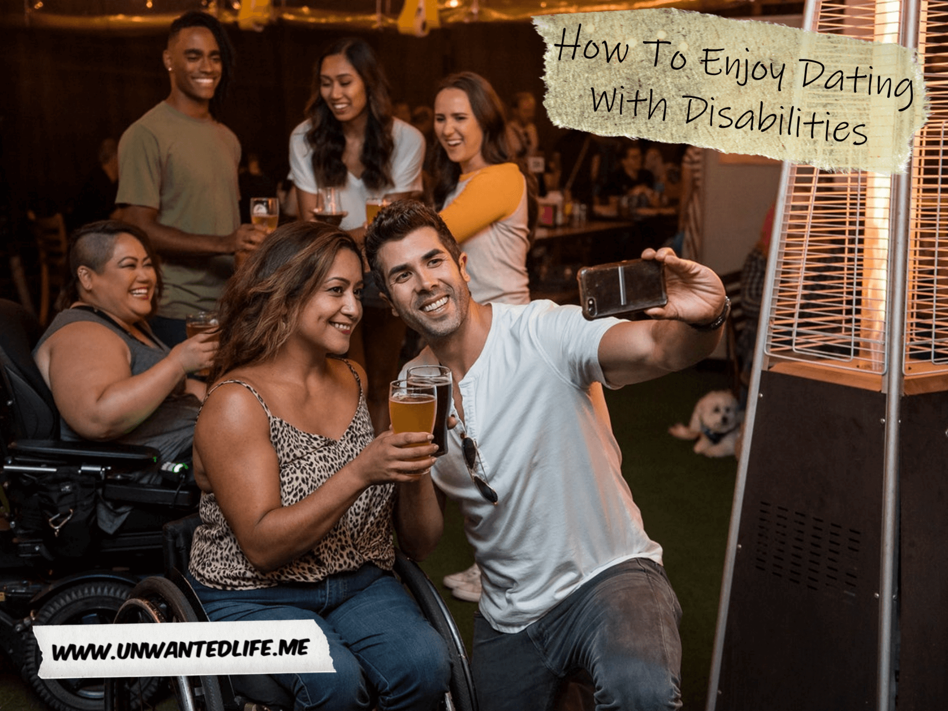 A couple enjoying a drink in a pub beer garden to represent the topic of the article - How To Enjoy Dating With Disabilities | Romance and Relationships | Unwanted Life