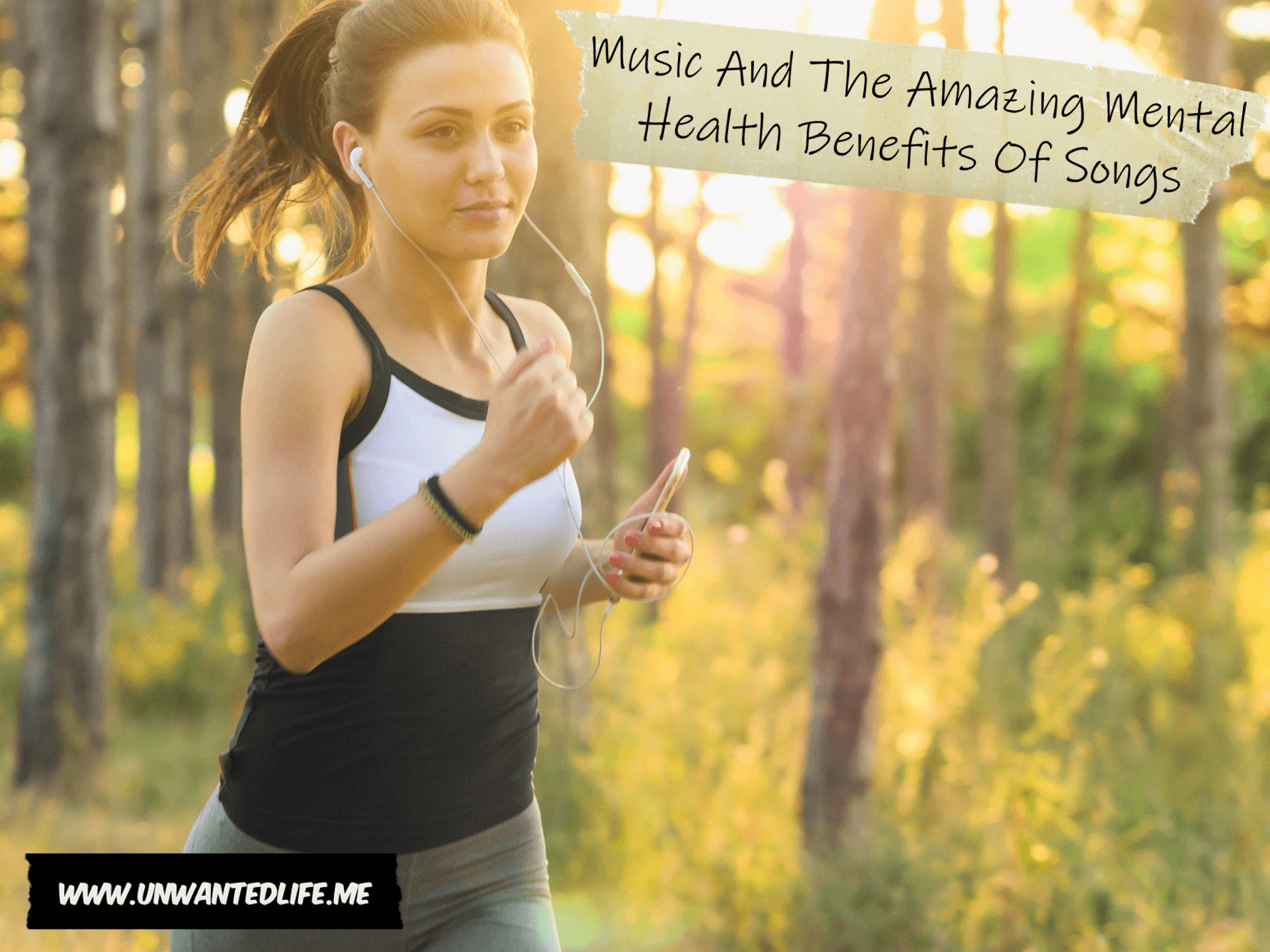 A photo of a white woman jogging through the woods listening to her MP3 player to represent the topic of the article - Music And The Amazing Mental Health Benefits Of Songs