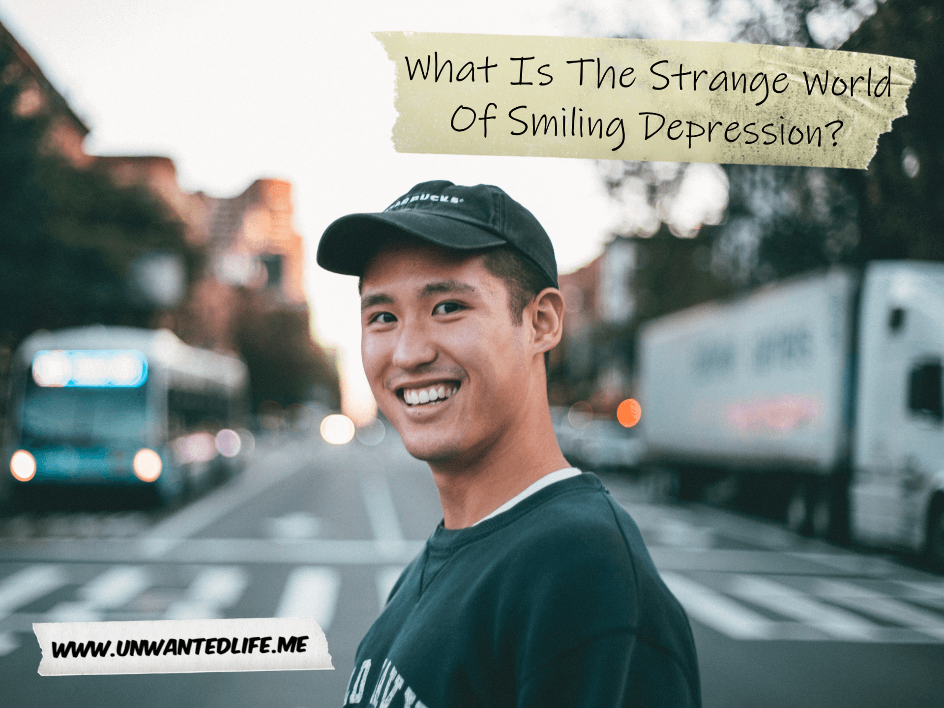 An Asian man crossing the road with a fake smile on to represent the topic of the article - What Is The Strange World Of Smiling Depression?