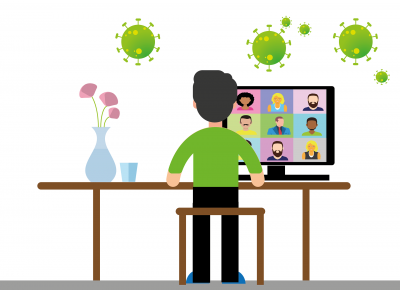 A cartoon image of a man sitting at a desk looking at a screen of people in their group video call to represent the topic of the article - Zoom Meeting Anxiety And How To Effectively Overcome It