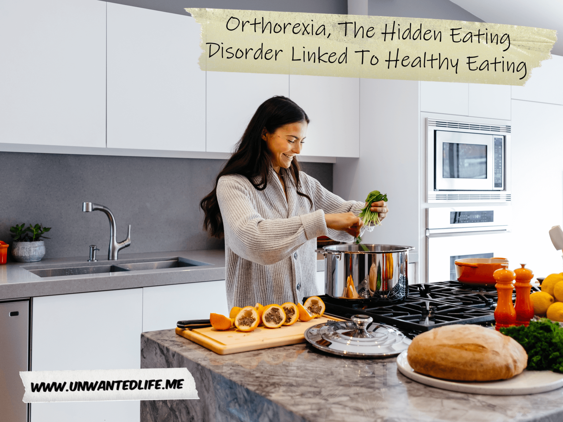A woman in a large kitchen making dinner with fresh and healthy ingredients to represent the topic of the article - Orthorexia, The Hidden Eating Disorder Linked To Healthy Eating